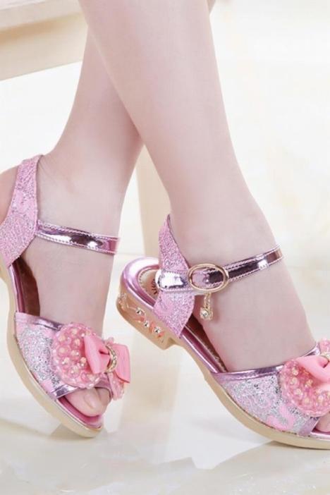 女童凉鞋夏季新款女童鞋儿童小女孩中大童公主鞋韩版女童鞋蝴蝶结
