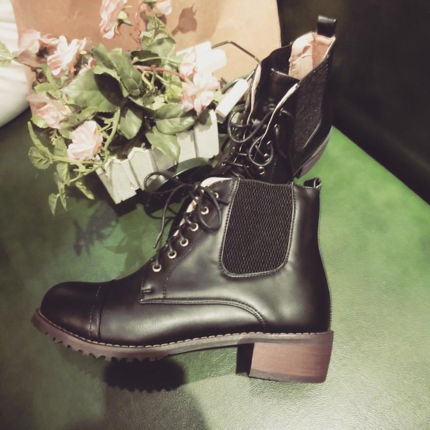 【《洛丽塔》英伦范复古擦色粗跟短靴】-鞋子-靴子
