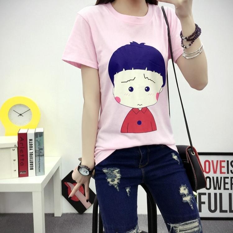 新款粉色囧眉小丸子可爱休闲短袖t恤