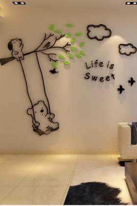 亚克力小熊秋千3d水晶立体墙贴儿童房电视背景墙贴画