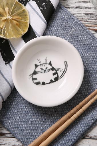 安与森活 手绘猫咪陶瓷小碟子调味盘子小菜碟