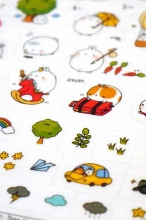 卡通蠢萌圆滚兔可爱萌系土豆兔贴纸透明pvc手账装饰贴防水表情