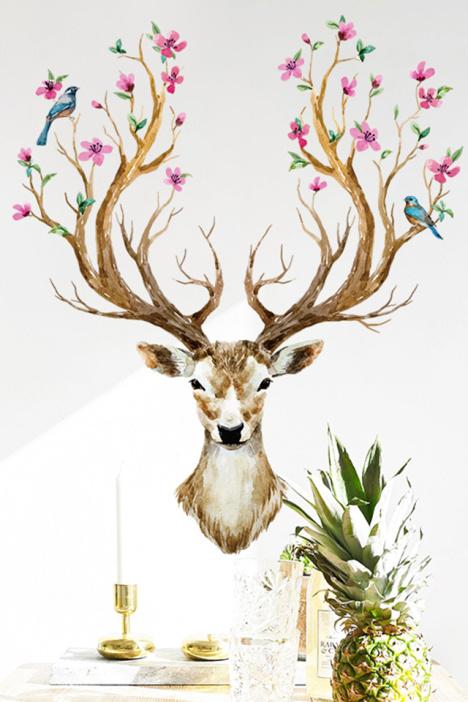 梅花鹿手绘油画墙贴 卧室客厅书房手绘风格背景墙七彩装饰贴画