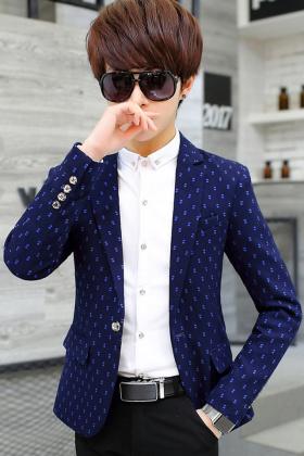 男士碎花小西装修身春季外套青少年休闲小西服韩版帅气学生单西潮$