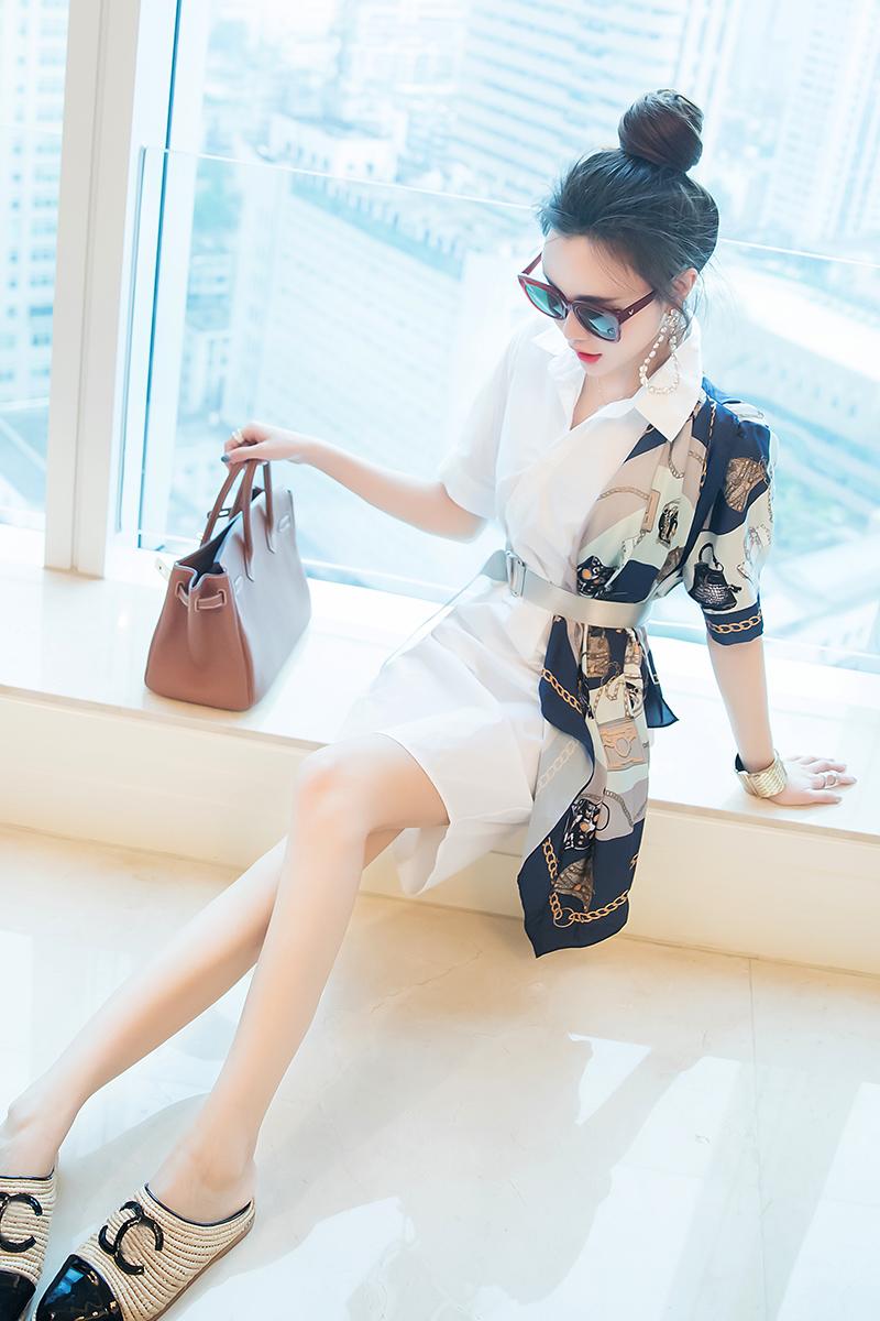 名媛衬衫连衣裙设计感假两件拼接裙子夏季女装新款宽松大码胖妹妹