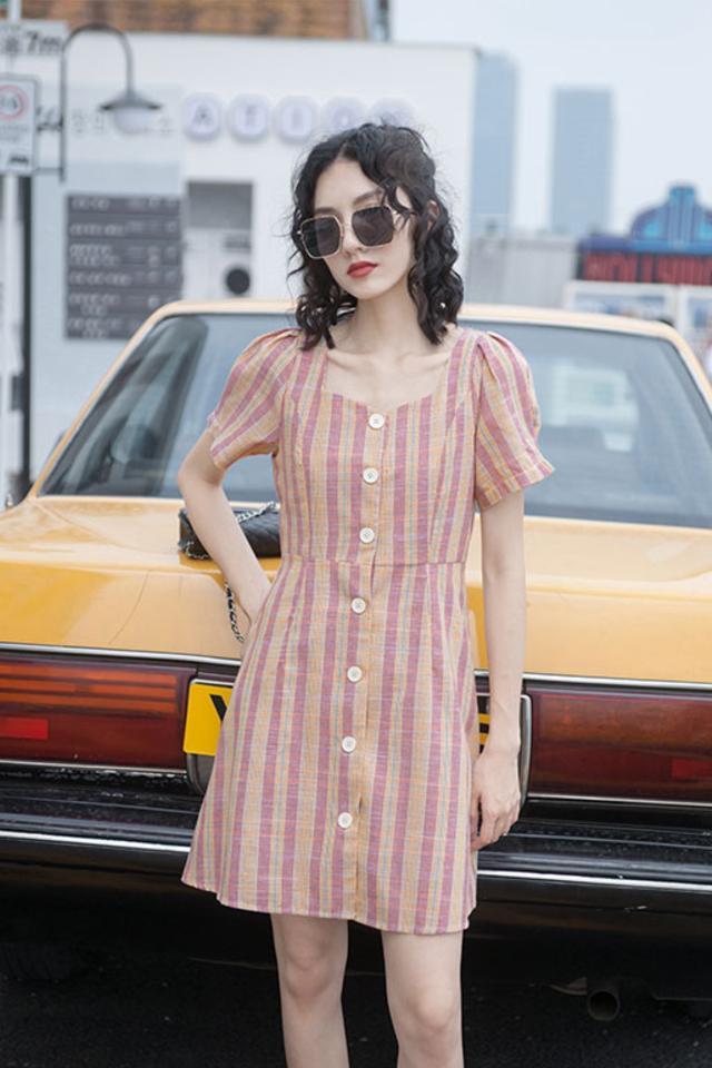 收腰显瘦夏季新款女装连衣裙仙女超仙甜美A字裙短裙高腰小个子裙