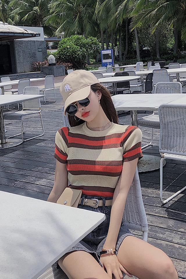 夏季新款圆领套头百搭修身上衣撞色条纹短袖t恤女学生针织衫上衣