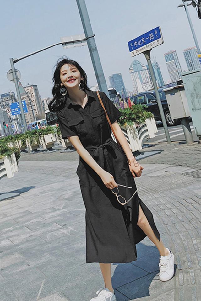 夏季新款女装很仙的法国小众连衣裙学生甜美衬衫赫本过膝长裙显瘦