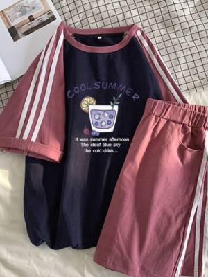 【黑皮雪梨呀呀】服套装女夏韩版学生宽松显瘦网红短袖短裤两件套