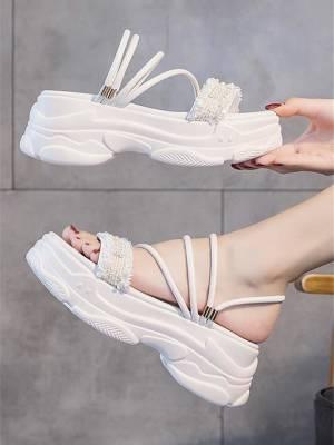 【崔小姐008】2021夏季新款凉鞋女厚底增高百搭松糕仙女风两穿女鞋凉拖外穿学生