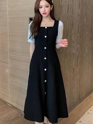 【艳姐cdyy】夏装新款女装法式复古单排扣连衣裙长裙气质显瘦赫本风小黑裙