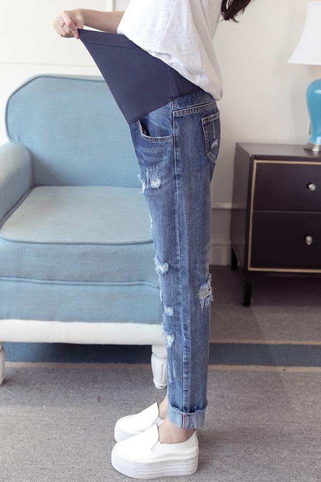 孕妇裤外穿秋冬新款宽松破洞孕妇牛仔裤冬季时尚托腹裤子打底裤