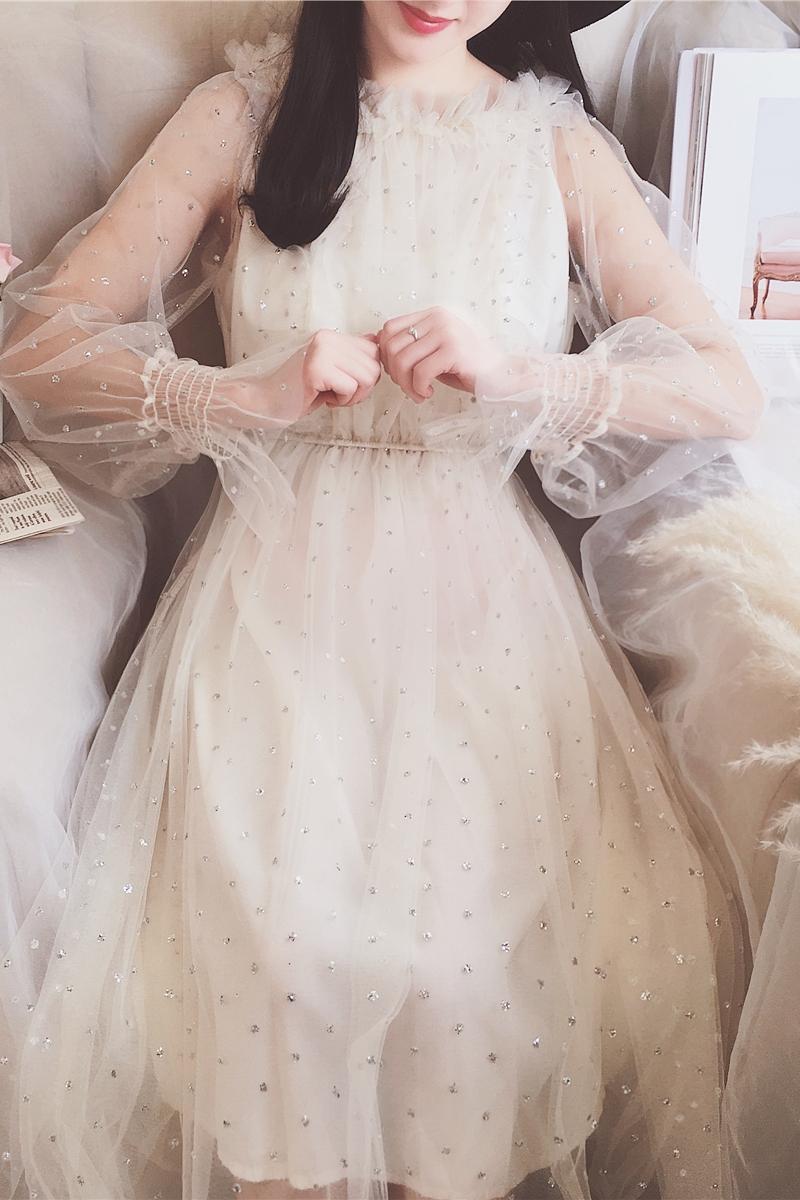 韩版透视优雅新款花边泡泡袖仙女闪闪长袖网纱亮片连衣裙长裙女