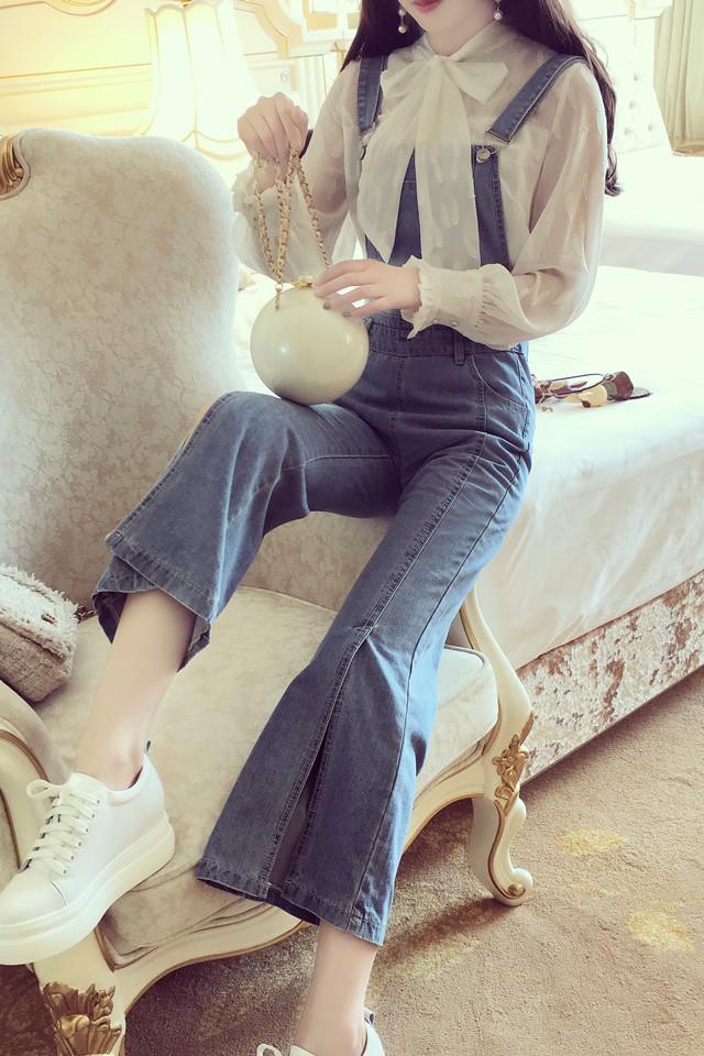 韩国东大门少女高腰气质减龄学院风开叉喇叭裤显瘦牛仔背带裤女潮