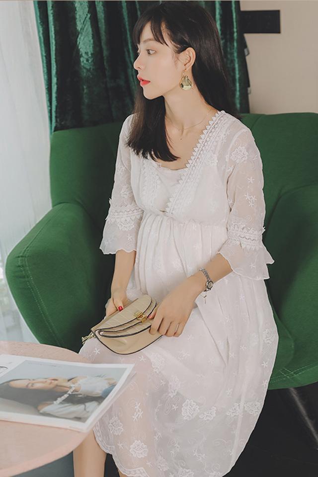 【清仓】孕妇装秋装时尚孕妇连衣裙中长款韩版蕾丝雪纺孕妇裙子