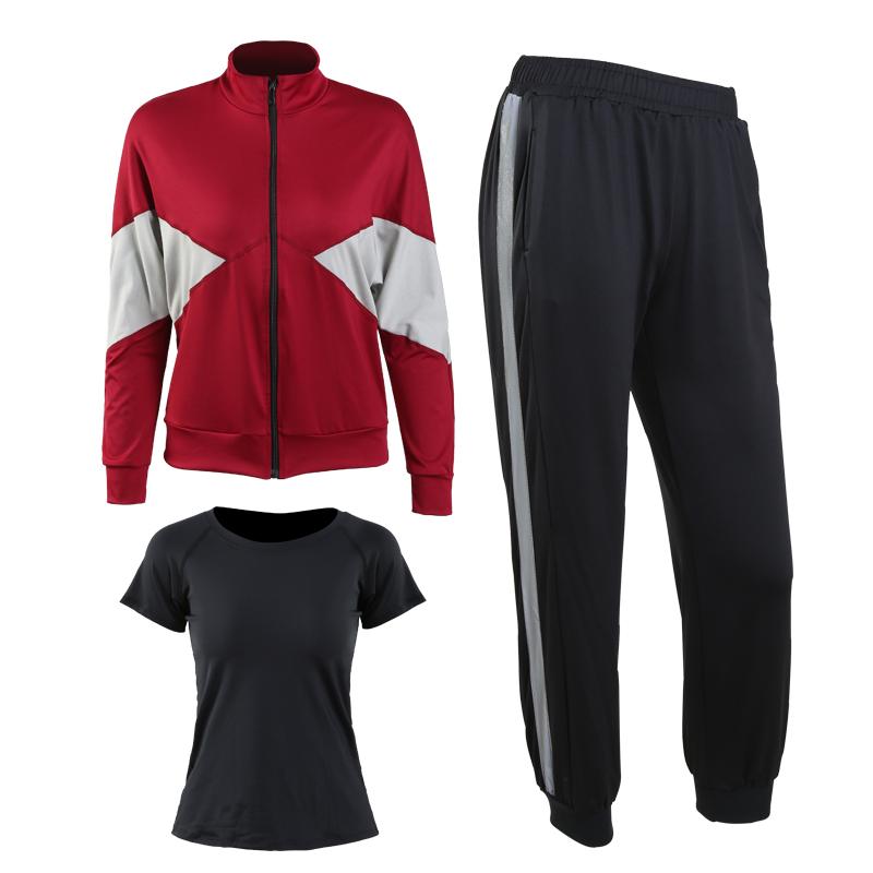 红色(外套+黑短袖+长裤)三件套