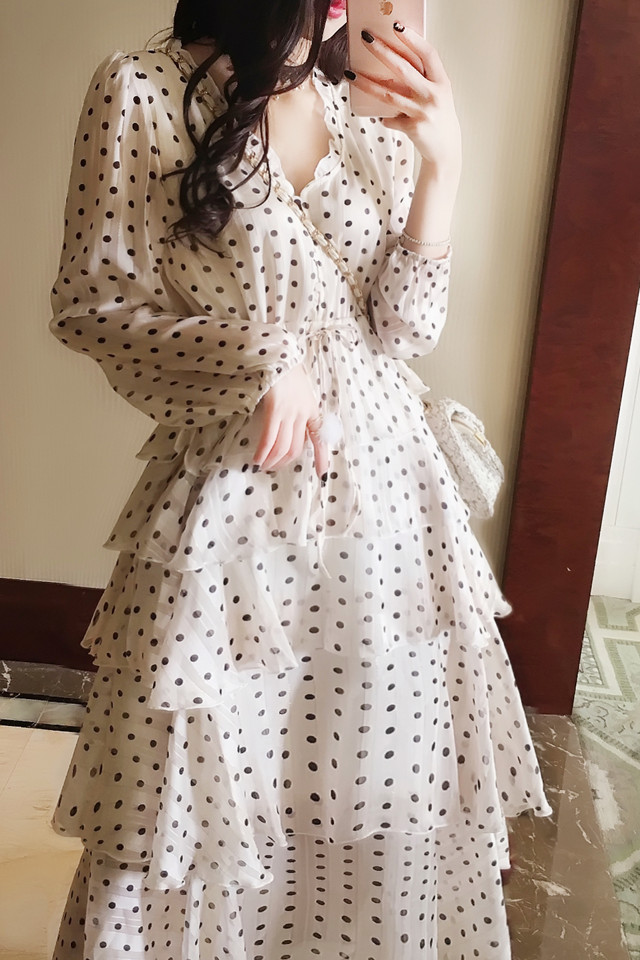 法式优雅雪纺连衣裙女2019春新款波西米亚波点荷叶边蛋糕裙长裙子蛋糕式裙海边沙滩裙