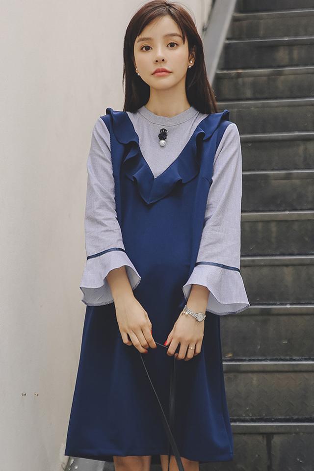 【清仓】孕妇装秋冬装孕妇连衣裙韩版时尚中长款打底裙假两件套裙