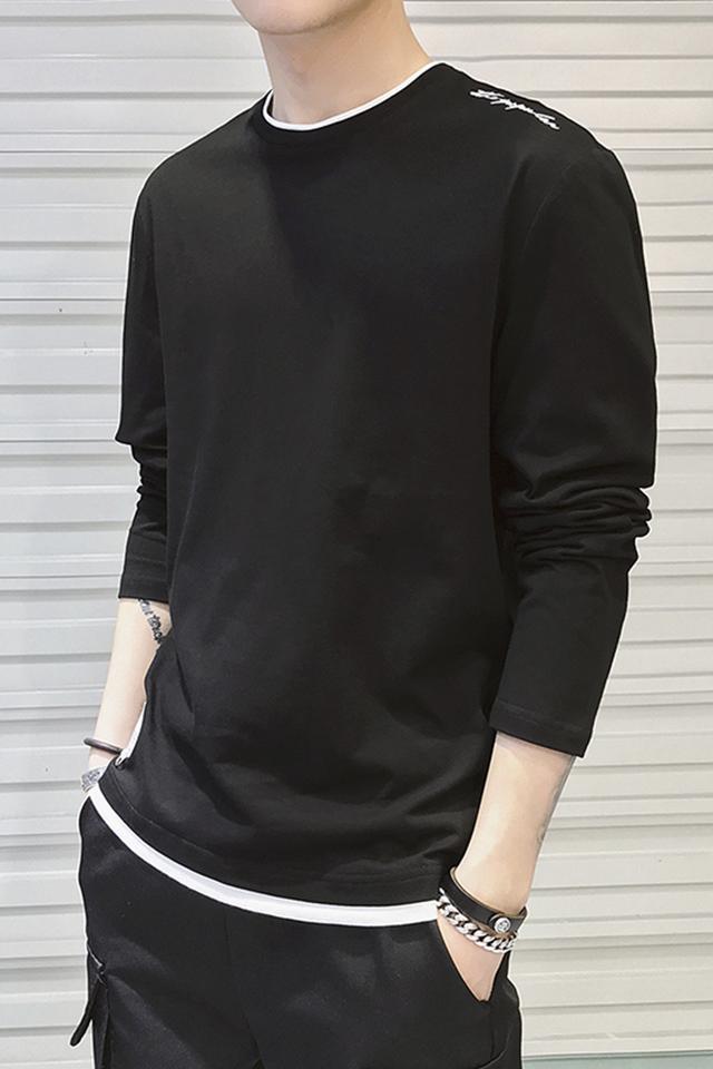 秋季新款男士假两件卫衣韩版修身百搭圆领上衣青年男生长袖打底衫