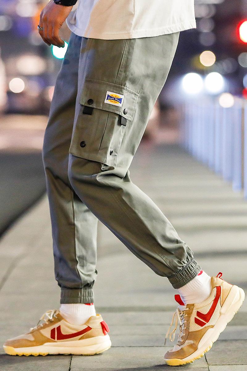 裤子男士工装裤九分休闲裤新款韩版潮流束脚男生男装小脚百搭夏季