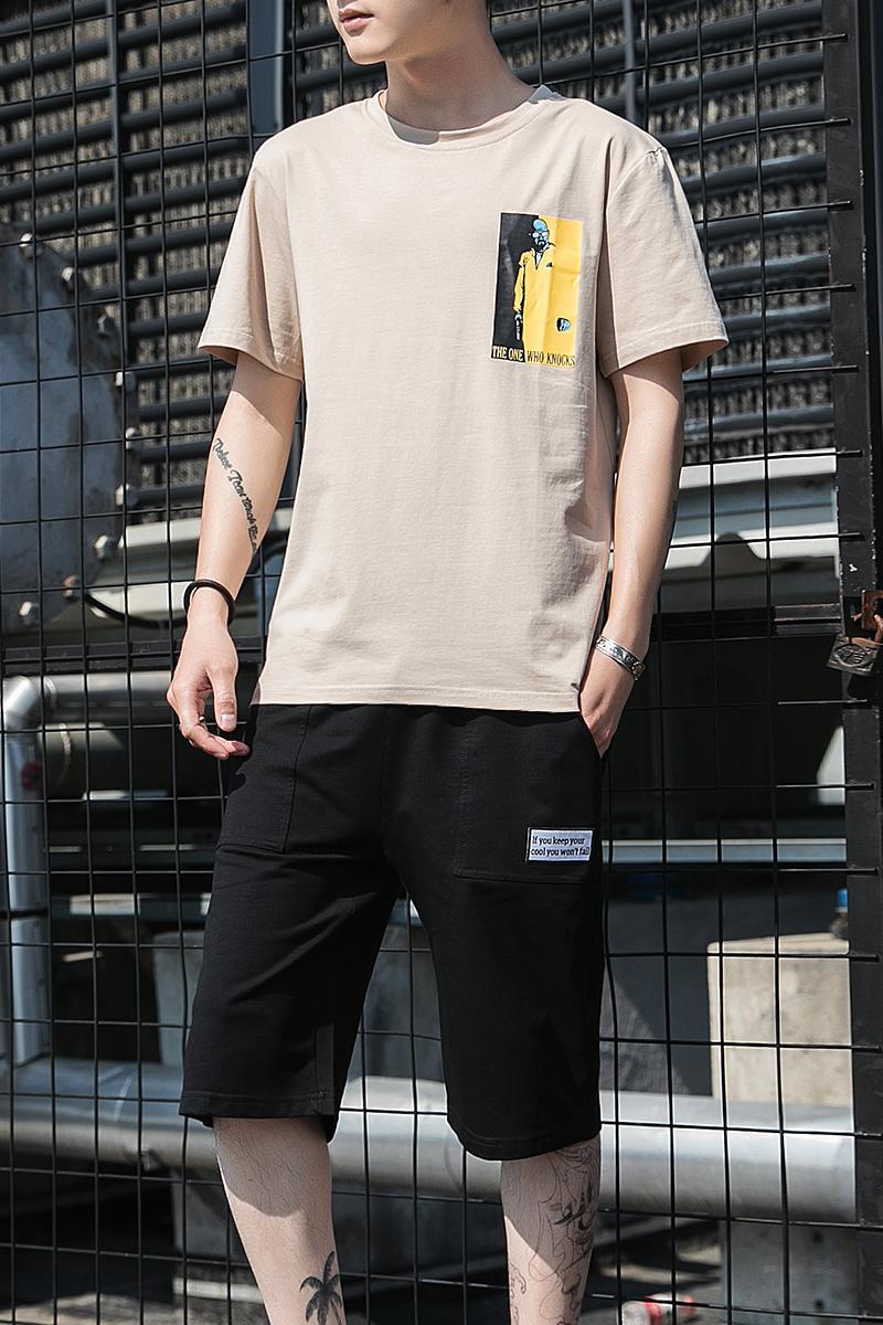 【上衣+裤子】男士套装夏季休闲短裤男装t恤短袖男生韩版宽松潮