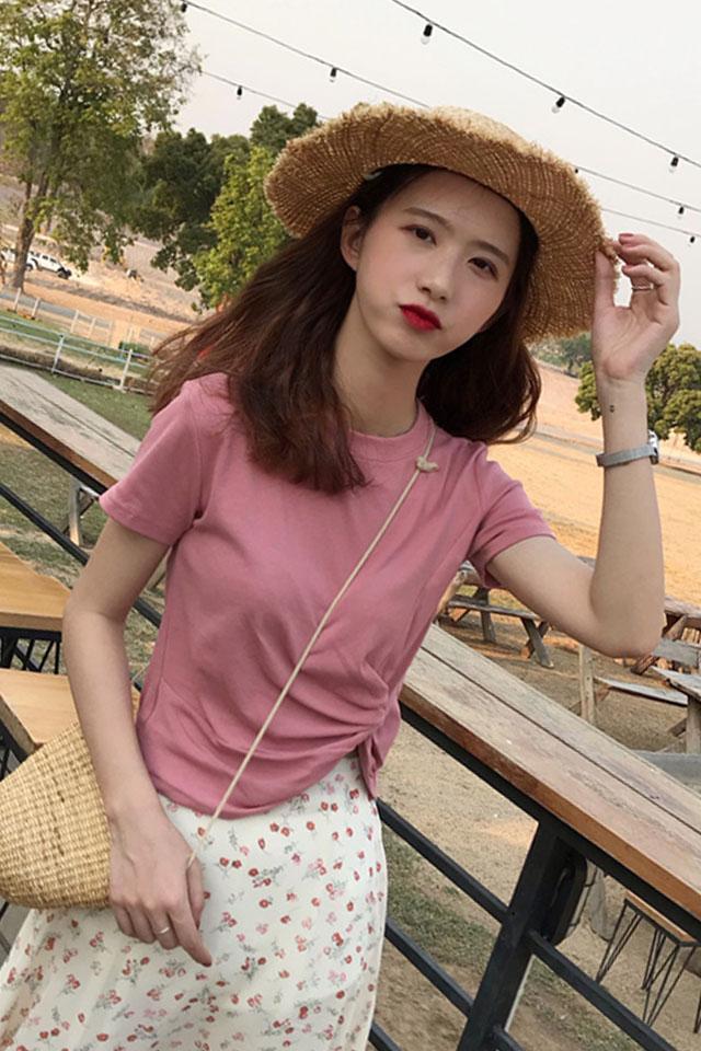 夏季新款韩版小清新修身显瘦短款T恤女圆领纯色百搭下摆扭结上衣