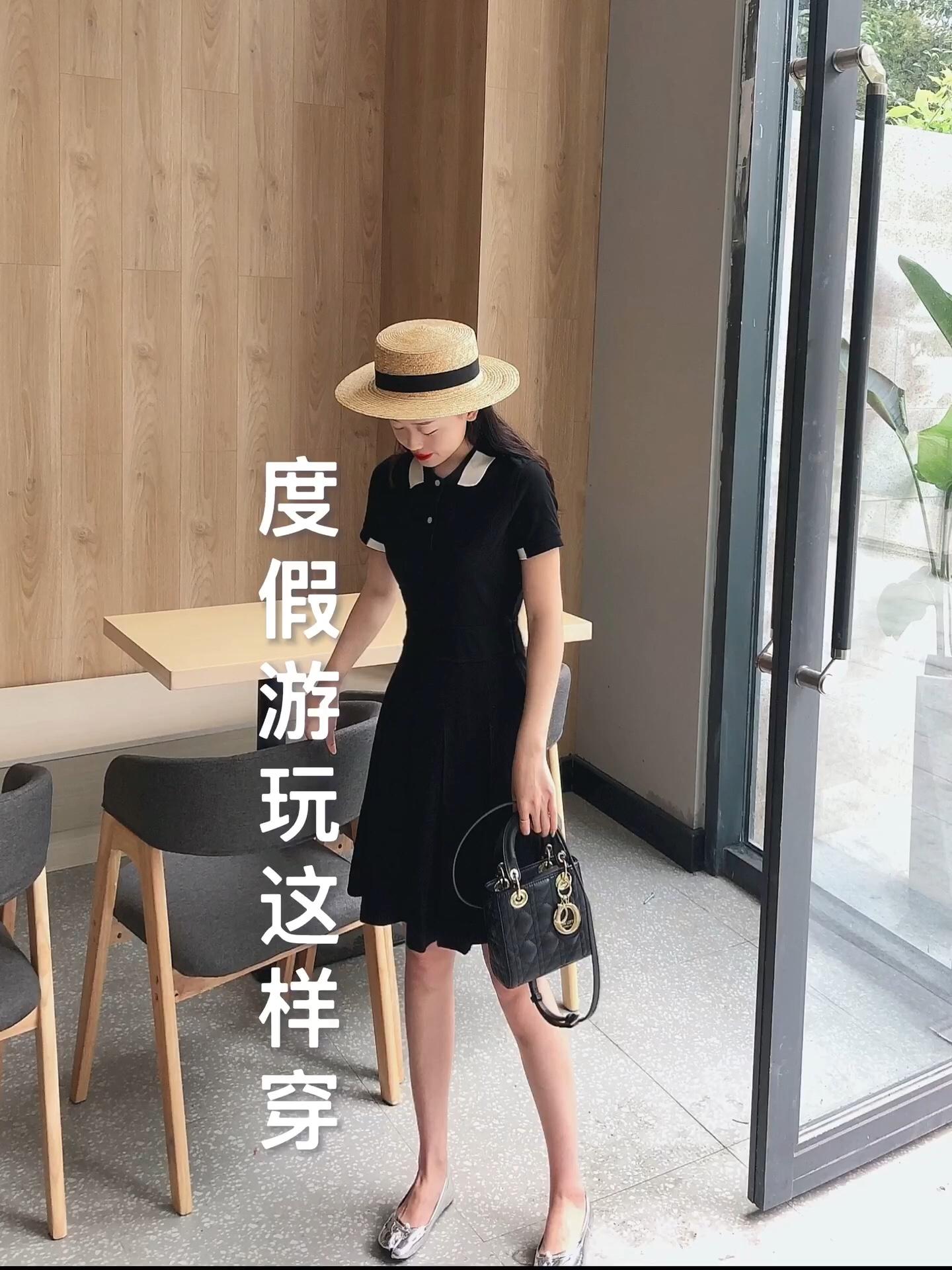 CHIOKi穿搭 ⛱️度假游玩这样穿 #150+女孩,夏日裙子酱紫穿!#  很显瘦的版型  Polo领的设计 脖子很细长哦  稀饭稀饭~ 今年最火的法式裙 漂亮美眉都入手啦 🥥🥥🥥