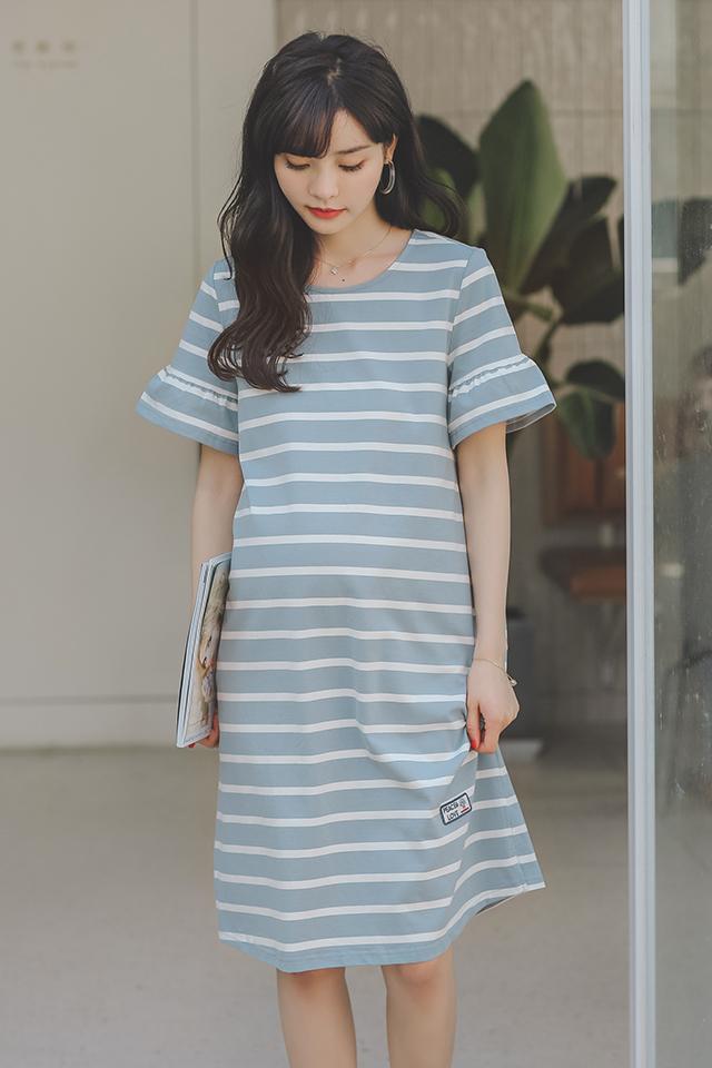 孕妇装夏装时尚孕妇连衣裙中长款短袖棉t恤宽松条纹孕妇裙子夏季