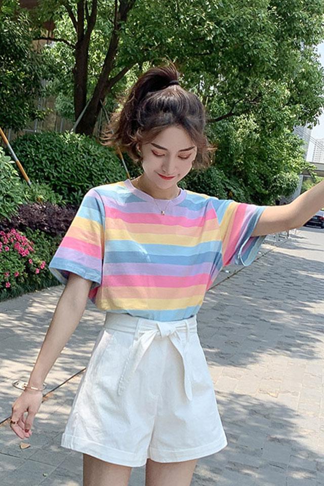 夏季新款设计感小众ins超火cec上衣女短袖条纹心机彩虹t恤