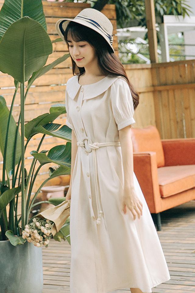 文艺复古气质仙女2019夏季新款甜美超仙娃娃领高腰显瘦连衣裙
