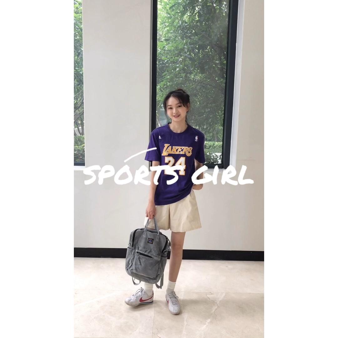 穿搭||🔮🔮🔮紫色的运动装教你做个sports girl! 上衣是NBA科比的球衣哦,高中时候的衣服啦一直穿到现在哈哈哈哈!下身搭配一条简单中裤就可以咯!#毕业旅行穿搭,你还缺这套look!#
