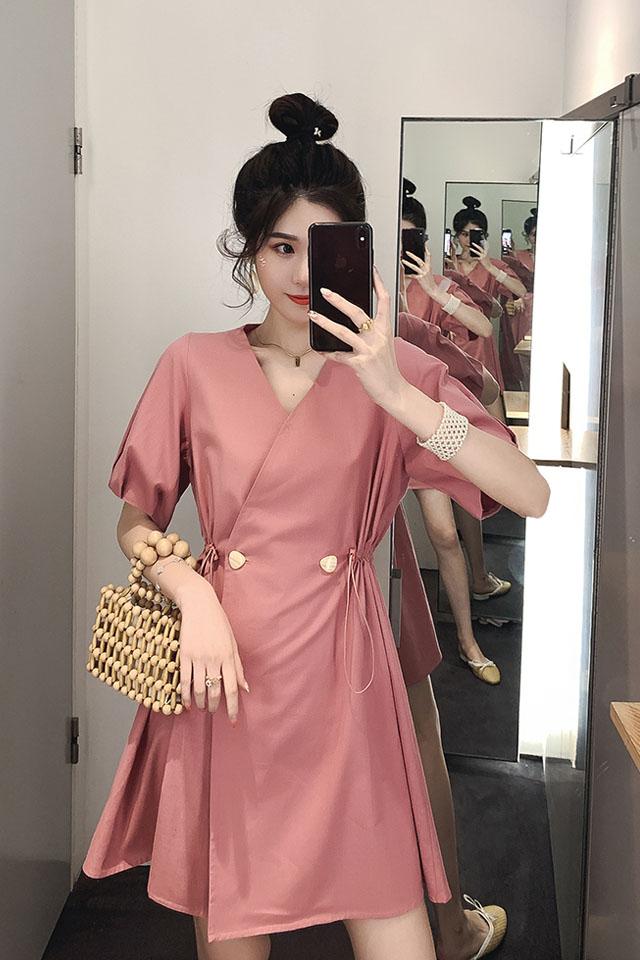 气质V领收腰连衣裙女2019夏季流行女装中长款温柔桔梗裙子