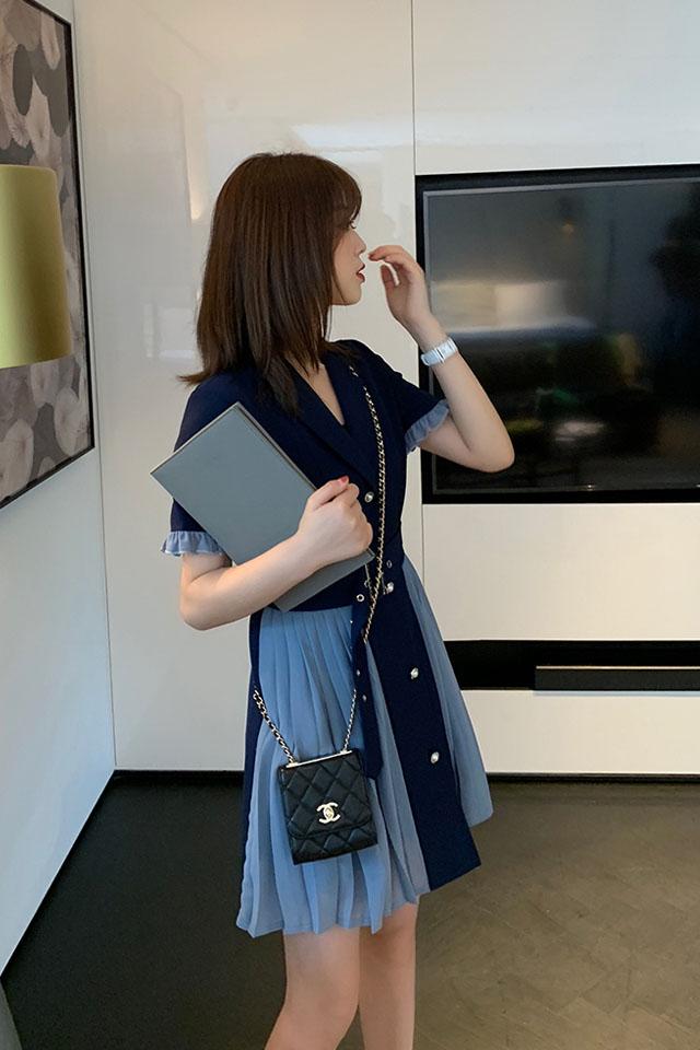 气质连衣裙女2019夏季流行女装山本法式复古初恋裙桔梗连衣裙