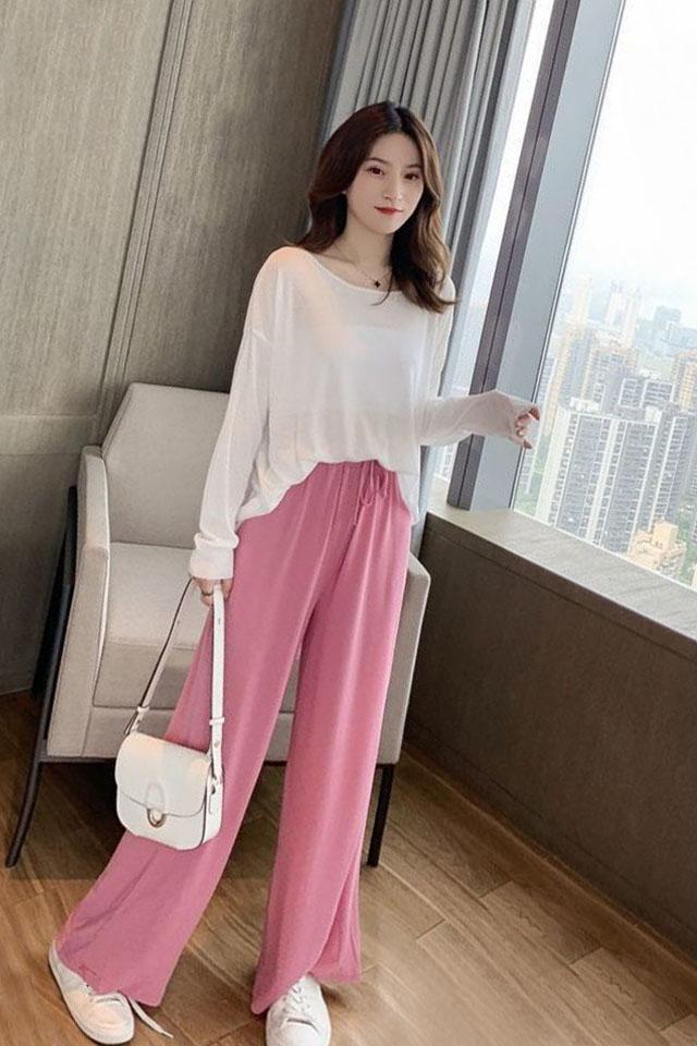 夏季韩版新款宽松显瘦薄款长袖T恤休闲阔腿裤子两件套时尚套装潮