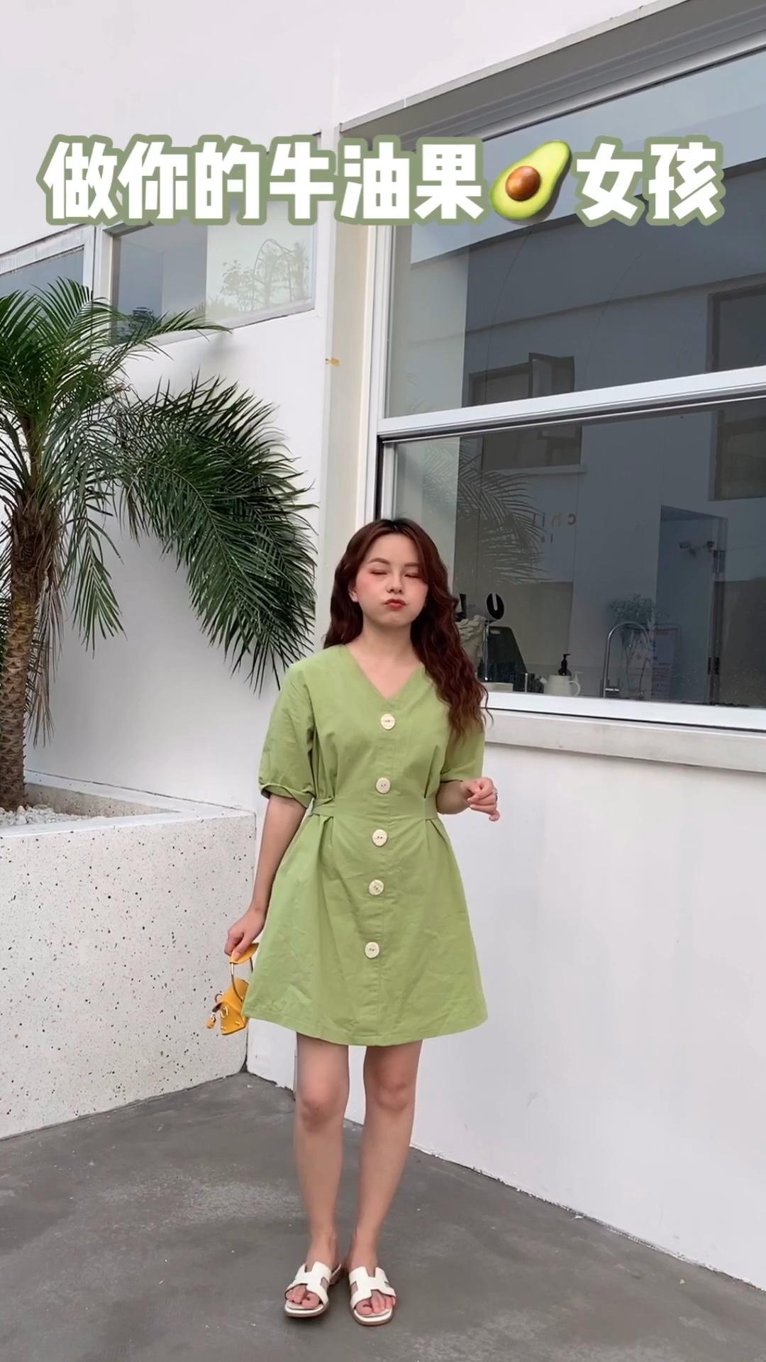 #上车!升温前赶上这趟清凉安利# 这款绿色连衣裙 腰带刚好可以修饰我们的身材 很适合小个子的一款哦 一起变美✌️