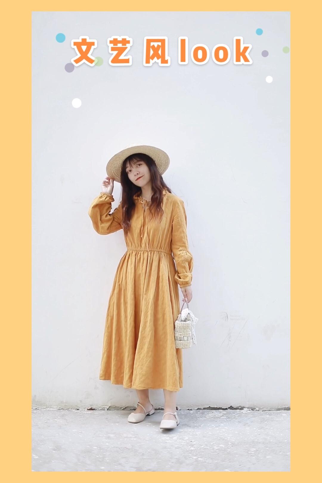#十分甜の小个子少女感# 文艺又甜美的小裙子 黄色显白的同时 也给人明媚的感觉 敲适合夏天啦 泡泡袖可以完美遮手臂上的肉肉 花边领口也衬托人更甜喔