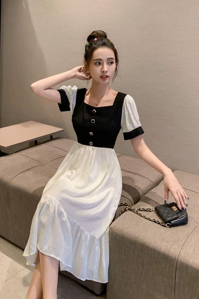 气质连衣裙女2019夏流行女装桔梗复古法式过膝脚踝超仙连衣裙
