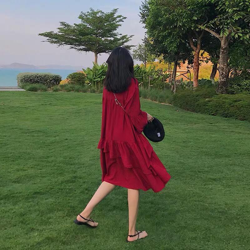 """红色连衣裙~ 旅行 逛街 约拍必备~#学""""木兰""""穿这招,A爆这夏天!#"""