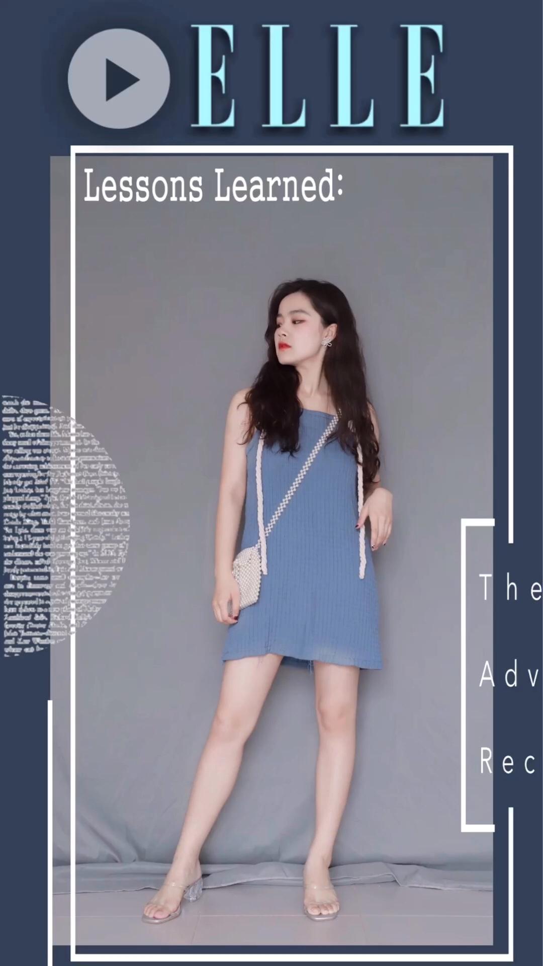 吊带蓝色连衣裙搭配斜挎珍珠包包 甜美少女风十足#微胖界,高段位显瘦这么穿!#