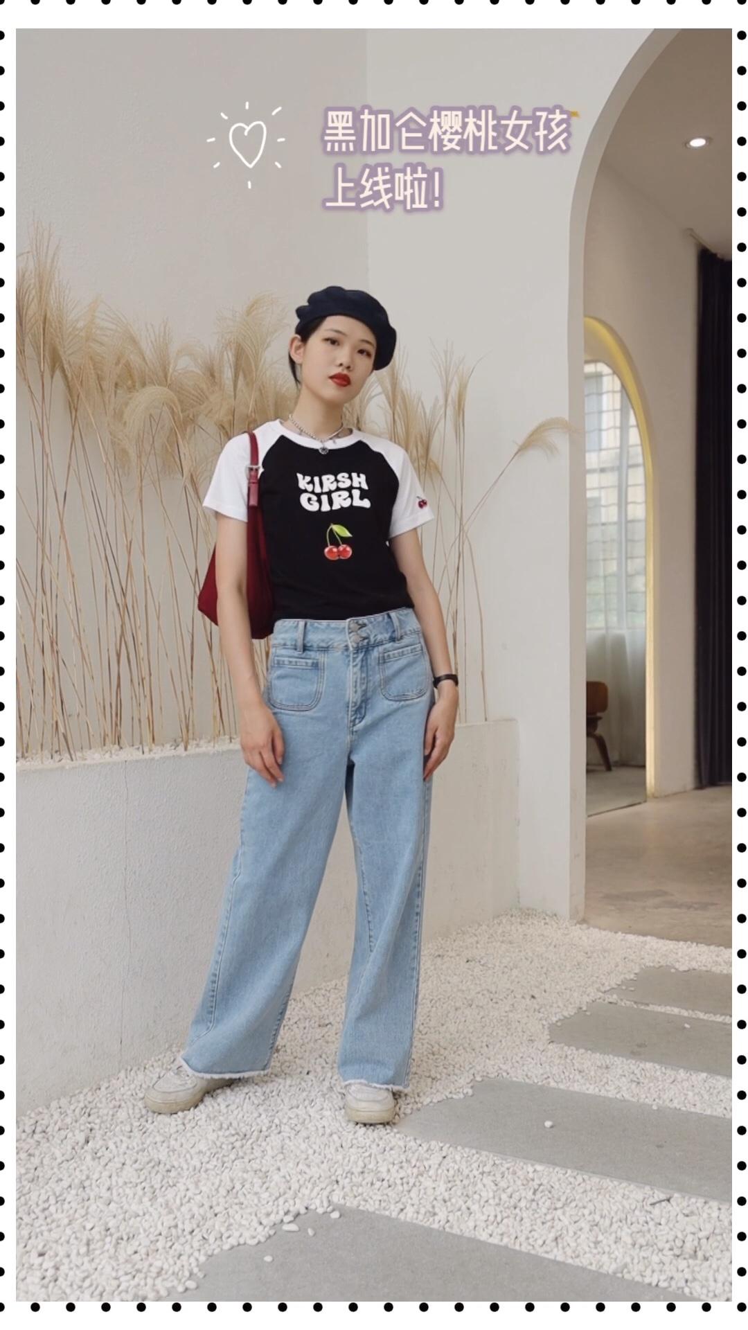 #日常时髦经:舒服最重要!#纯棉印花T恤➕宽松牛仔阔腿裤舒适透气又时尚!krish的拼接新款短袖值得拥有哦!