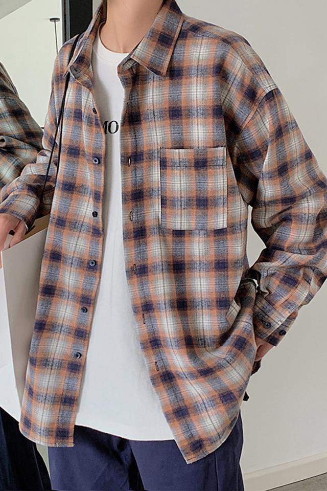秋季新款男士休闲衬衫青年百搭长袖格子衬衣青年学生帅气港风外套