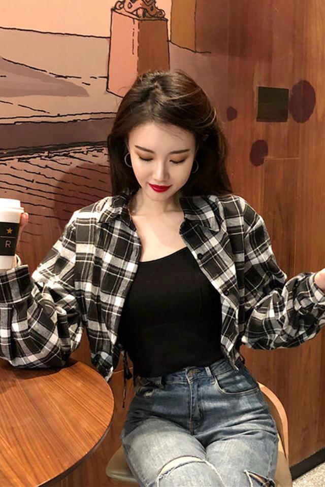夏季新款格子衬衫长袖短款防晒衣女韩版宽松外套秋季女百搭衬衣女