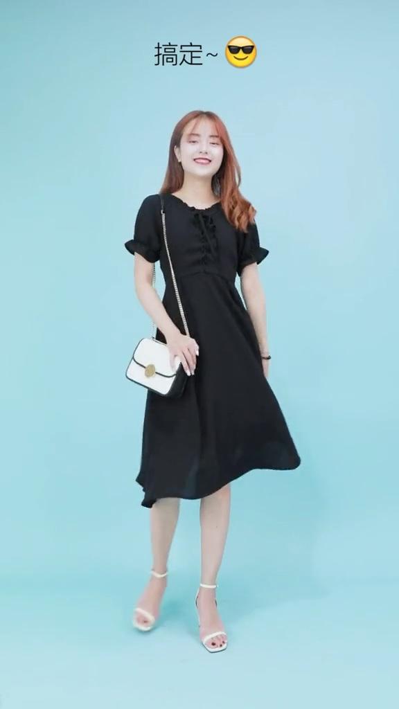 微胖福利,黑色连衣裙真的很显瘦,秒变大长腿#梨形mm这么穿=又高又瘦#