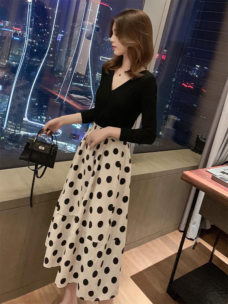 秋季新款韩版高腰显瘦半身裙女甜美百搭松紧腰波点A字裙中长裙子
