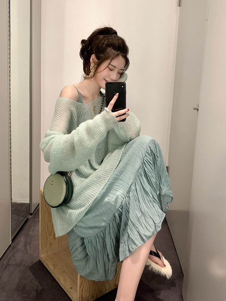 很仙女的秋装新款韩版宽松显瘦V领薄款针织毛衣套头外搭罩衫上衣