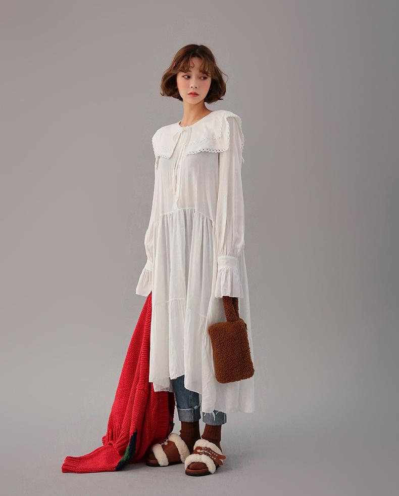 😘白色连衣裙超仙儿哒 法式森系超级显气质哦!❤ 娃娃领,喇叭袖超级可爱的呦 小仙女必备哦😘
