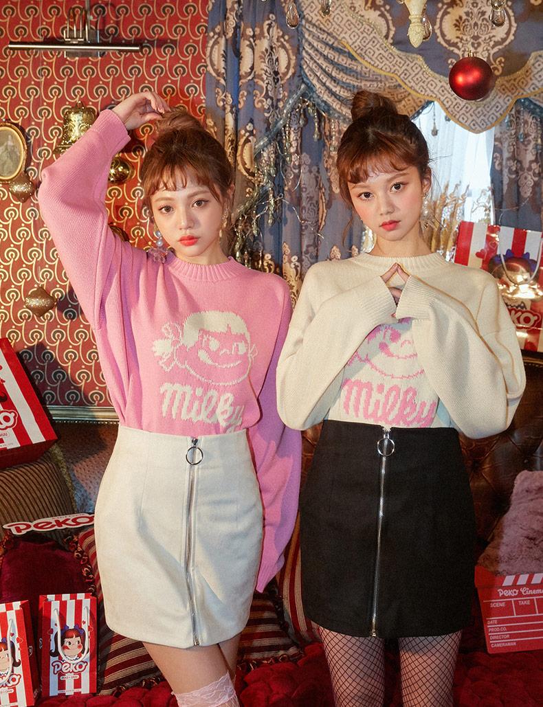 👣这款粉粉的卫衣 是不二家的新款哦💕 👀卡通的印花少女感十足哦💕 搭配半身长裙还带带点小性感呢! #秋装上新,穿搭打卡#