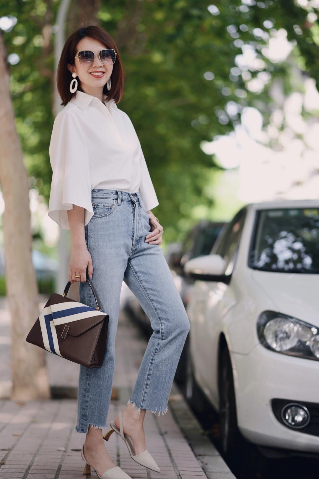 白衬衫+👖,入秋最适合的look,通过复古风配饰提升时髦度~ #秋装上新穿搭打卡#