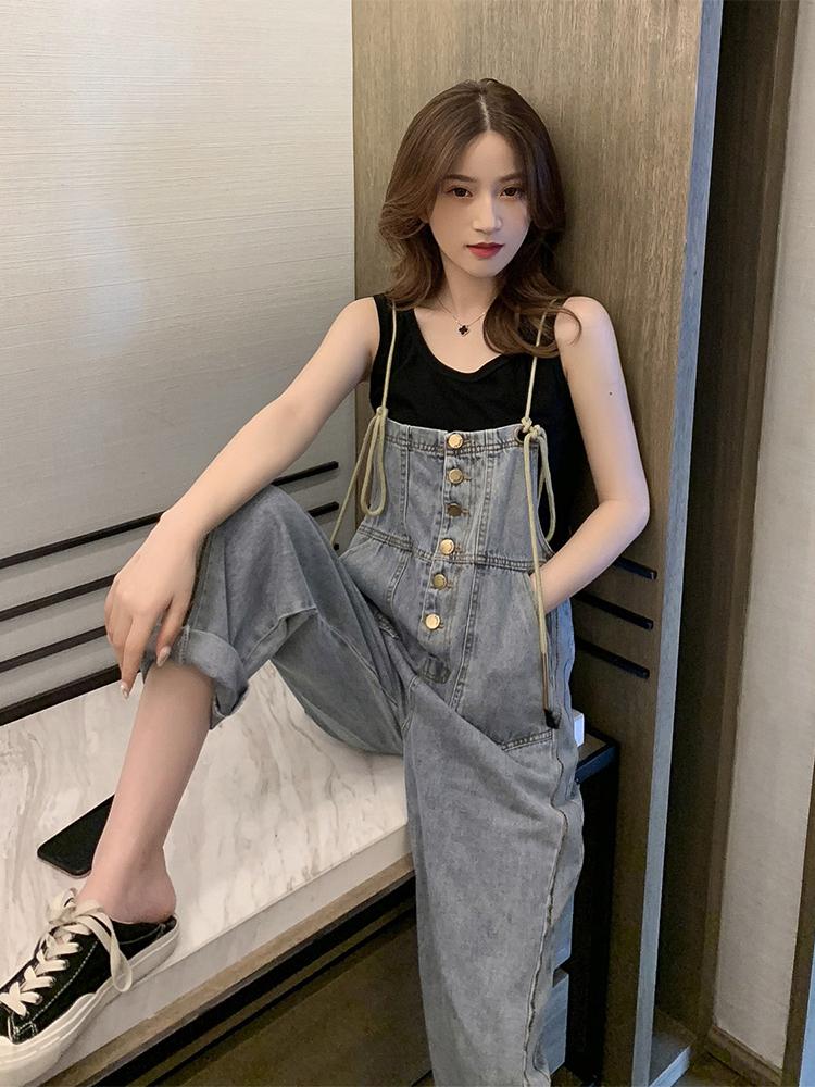 韩版夏季新款减龄小个子阔腿裤背带裤女宽松显瘦百搭水洗牛仔裤子