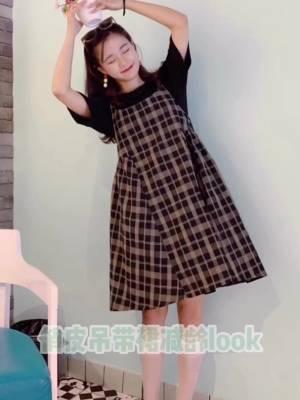 #150矮妹の秋日显高指南#  💫宽松的娃娃裙连衣裙真的超可爱~ 背带的两件套实穿性也更高 💫长度对矮个子女生真的很友好很显高~